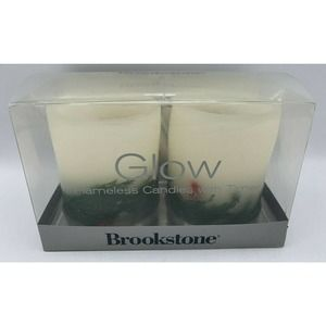 Brookstone Two (2)Glow Flameless Candles W/Timer Real Wax No Flame Instant Mood